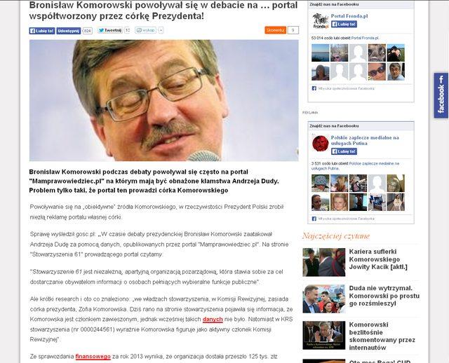 Komorowski reklamował stronę współtworzoną przez córkę