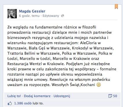 Magda Gessler zakończyła współpracę z 9 restauracjami!