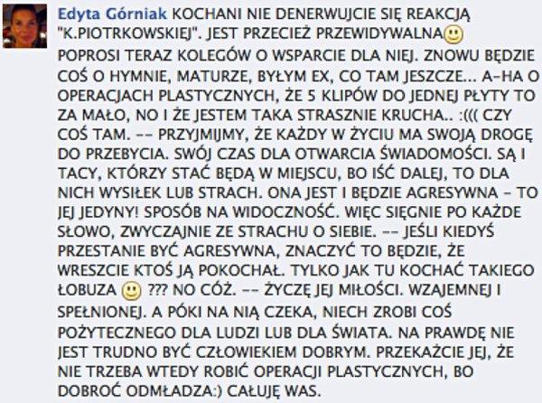 Fani Górniak grożą Korwin-Piotrowskiej grożą śmiercią?