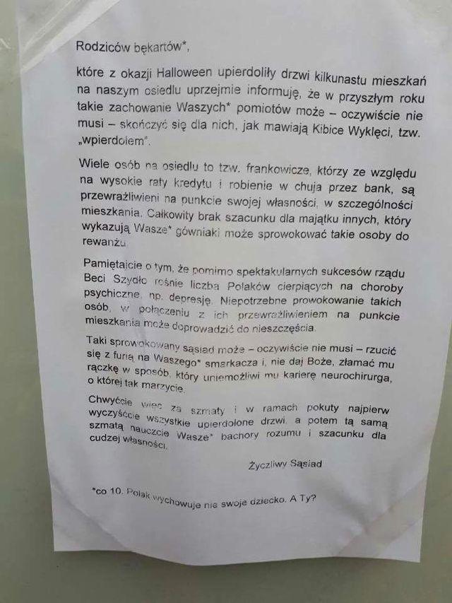 Na warszawskiej Białołęce ktoś powiesił kartkę z groźbami i przekleństwami