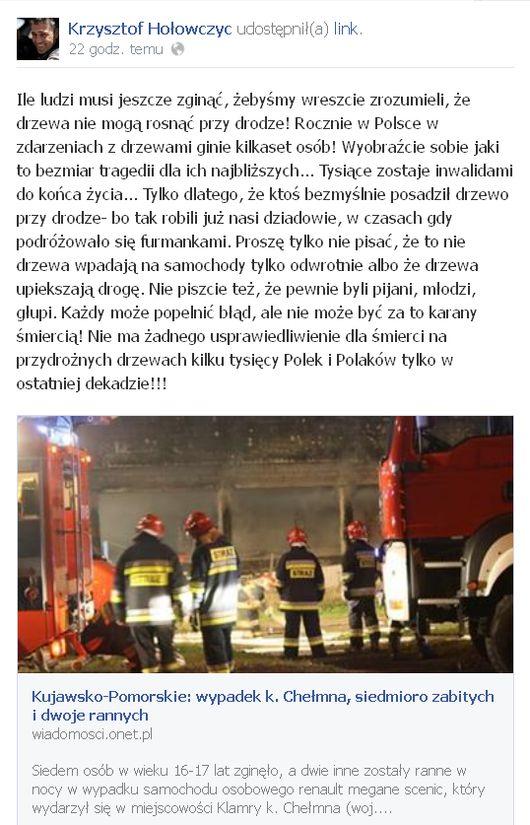 Hołowczyc apeluje w związku ze śmiercią 7 nastolatków