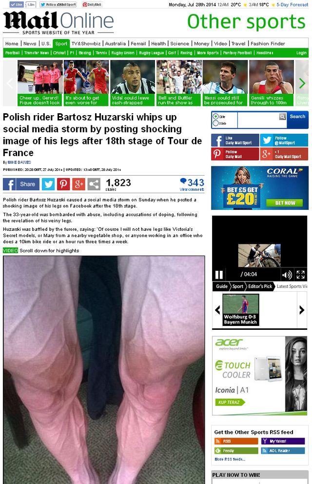 Nogi Bartosza Huzarskiego zaniosły go do... Daily Mail