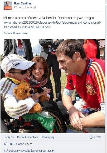 Iker Casillas pożegnał swego kibica z Polski