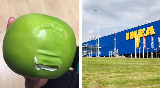 Nadgryzione atrapy jabłek na otwarciu Ikei: Za darmo, to i dekoracja smakuje