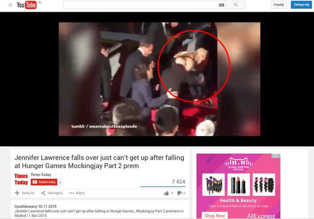 Jennifer Lawrence znów upadła na schodach (FOTO)