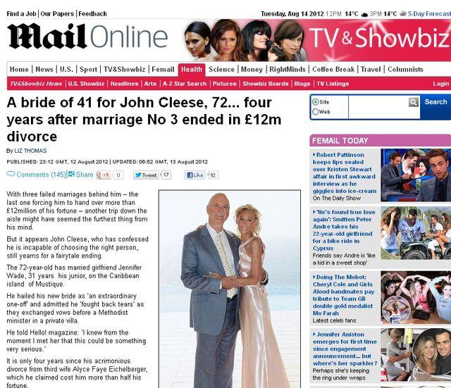 John Cleese ożenił się po raz czwarty