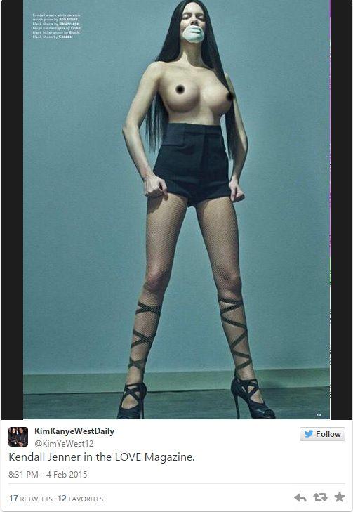 Kendall Jenner z powiększonym biustem topless... (FOTO)