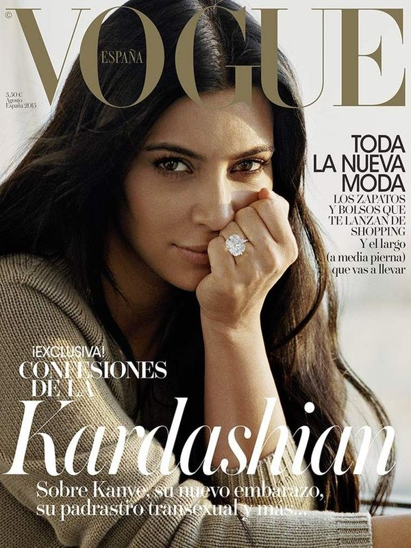 Kim Kardashian kompletnie BEZ MAKIJAŻU w hiszpańskim Vogue