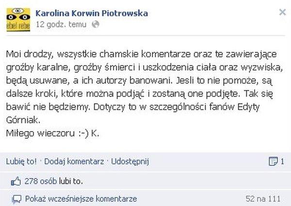Fani Górniak grożą Korwin-Piotrowskiej śmiercią?
