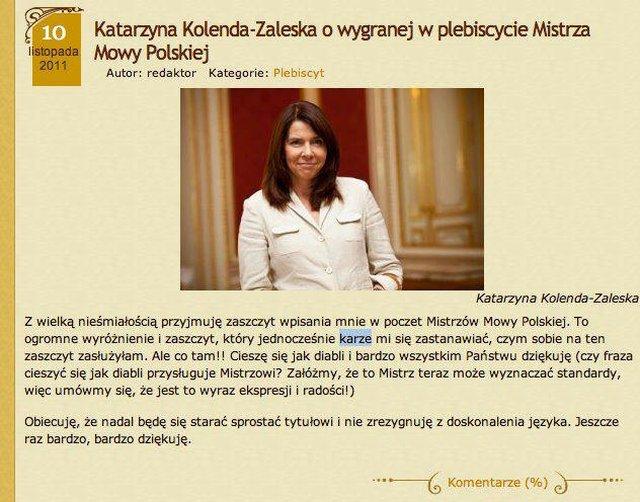 Została Mistrzem Mowy Polskiej i robi błędy ortograficzne