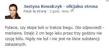 Justyna Kowalczyk dzięki temu lekowi nie czuje bólu...