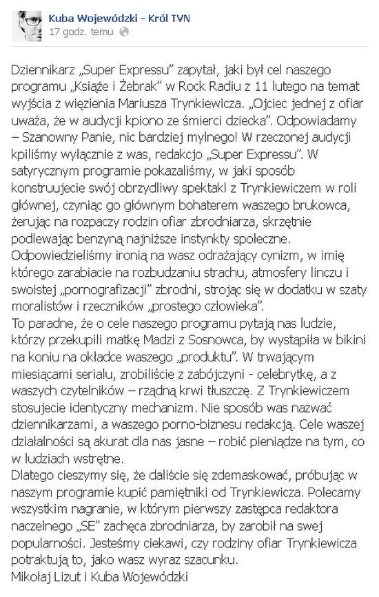 Niesmaczne żarty Wojewódzkiego na temat ofiar pedofila