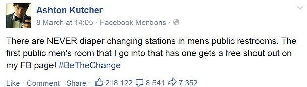 Ashton Kutcher narzeka na przewijaki w miejscu publicznym