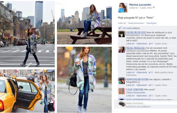 Marina Łuczenko chwali się zdjęciami z Nowego Jorku