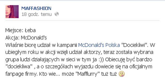 Maffashion pracuje w Mc'Donald's?