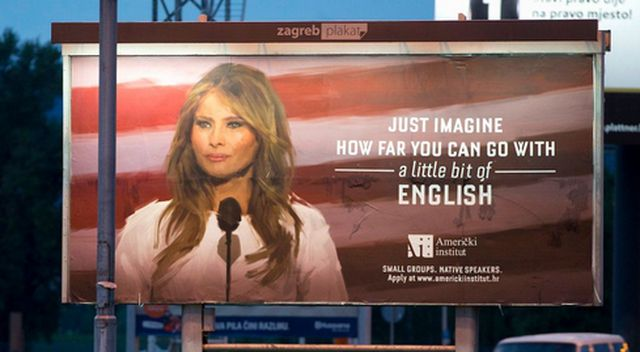 Szkoła językowa wykorzystała wizerunek Melanii Trump. Obrazili ją?