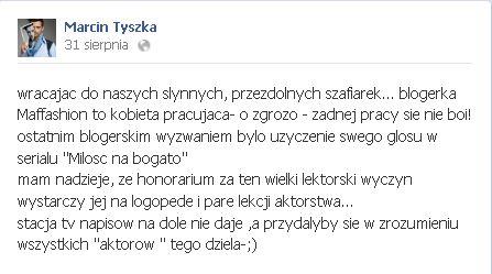 Marcin Tyszka krytycznie o Miłości na bogato