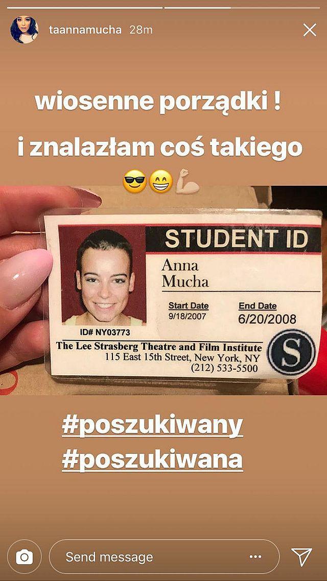 Anna Mucha pokazała legitymację studencką. Co za FRYZURA! (Instagram)