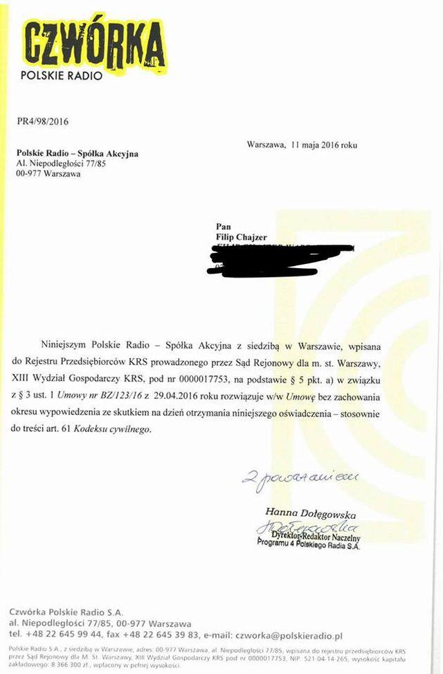 Filip Chajzer WYLECIA� z Czw�rki!