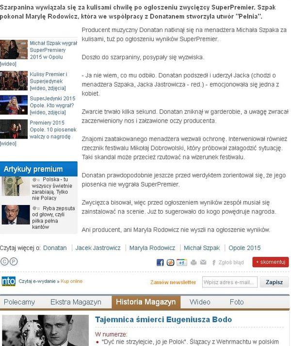Skandal w Opolu - Donatan zaatakował menedżera Szpaka?