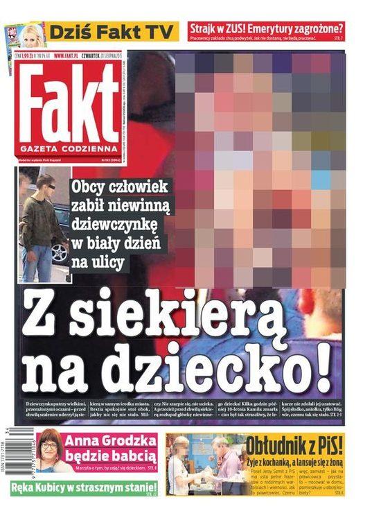 Redaktor naczelny Faktu przeprasza za drastyczn� ok�adk�