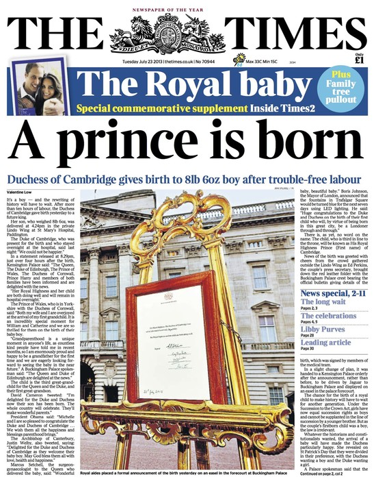 Ok�adki brytyjskiej prasy krzycz�: Jest syn!