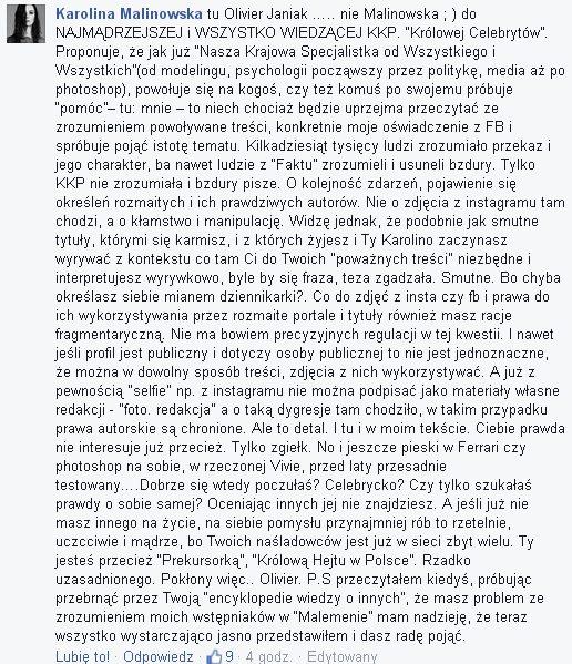 Olivier Janiak nabija się z Korwin Piotrowskiej