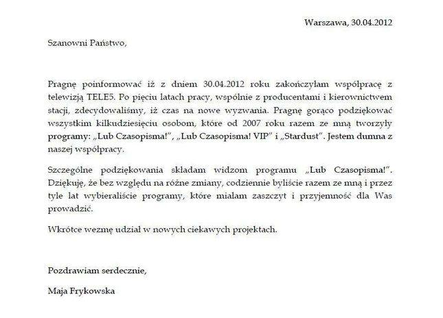 Maja Frykowska już nie pracuje w telewizji