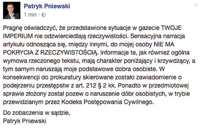 Patryk Pniewski ZMYŚLIŁ związek z KatarzynąSawczuk?!