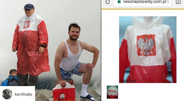 Peleryna przeciwdeszczowa Kaczyńskiego bohaterką memów