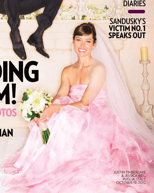 Różowa suknia ślubna Jessiki Biel (FOTO)