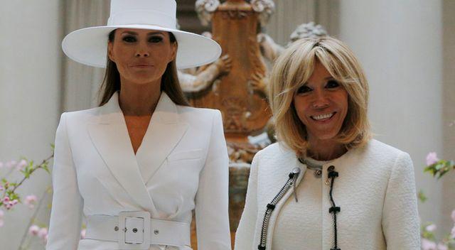 Melania Trump i Brigitte Macron całe w bieli (ZDJĘCIA)