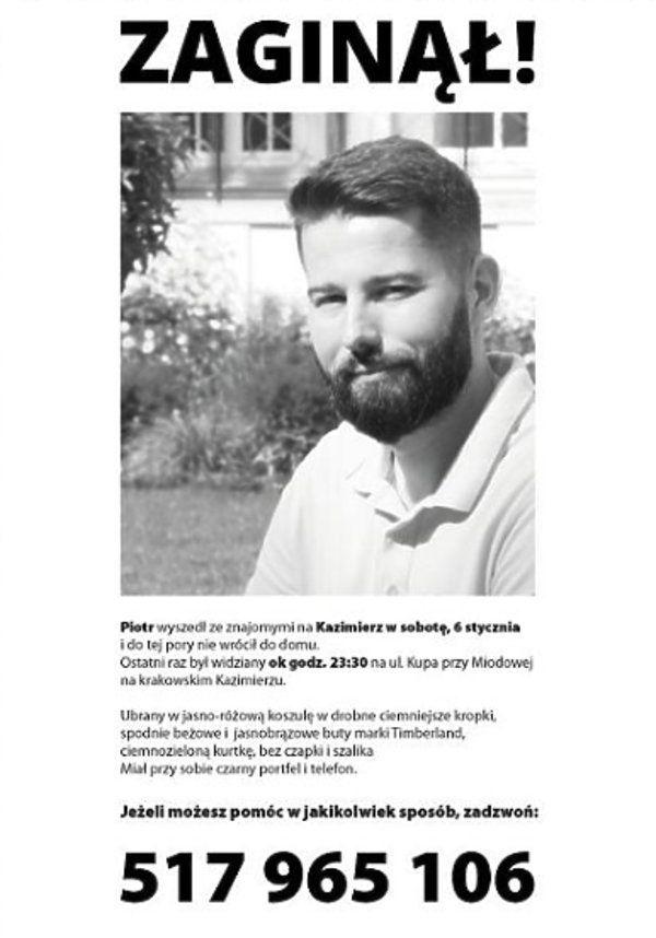 Policja o zaginięciu Piotra Kijanki: Jest to dziwna sprawa