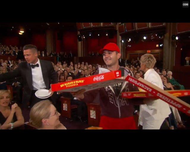 Ellen DeGeneres karmi gwiazdy pizzą na oscarowej gali VIDEO