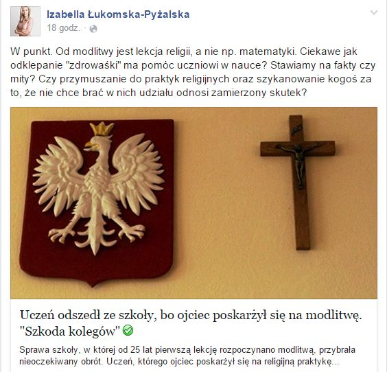 Łukomska-Pyżalska zbulwersowana modlitwą na lekcjach