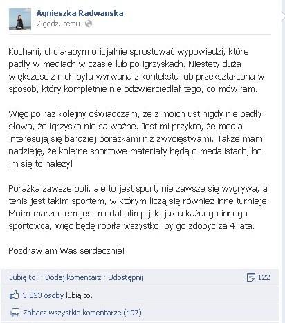Radwańska prostuje: Nie mówiłam, że igrzyska nie są ważne