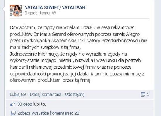 Natalia Siwiec mówi, że nie reklamuje kremu do odbytu