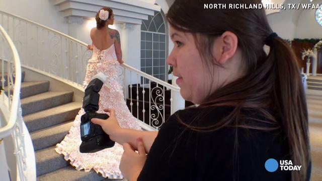 Nie uwierzysz z czego zrobiono tę suknię ślubną