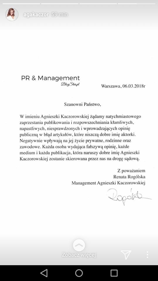 OFICJALNE oświadczenie managerki Agnieszki Kaczorowskiej
