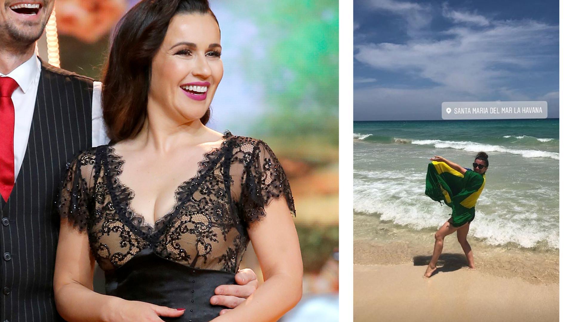 Beata Tadla na kubańskiej plaży w kostiumie kąpielowym