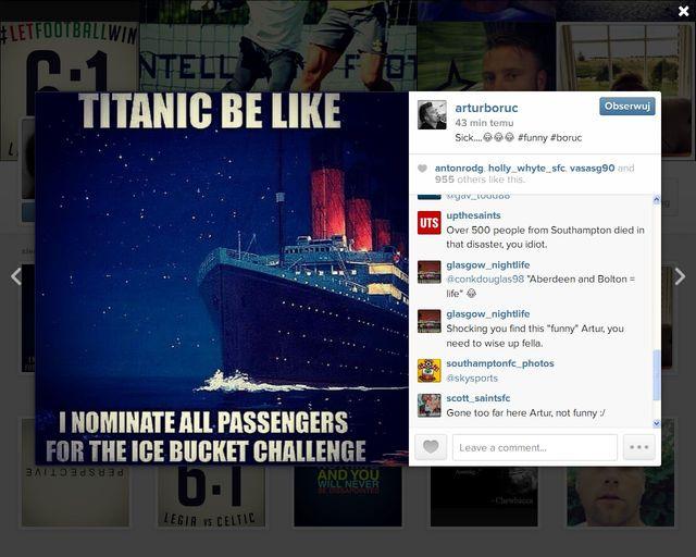 Fani krytykują Artura Boruca za mema o splashu Titanica