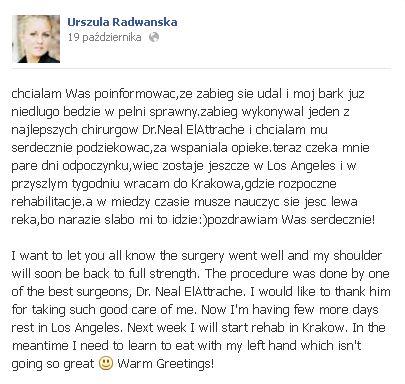 Urszula Radwańska przeszła poważną operację