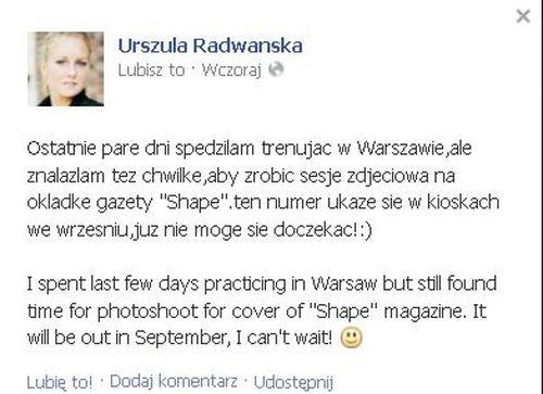 Urszula Radwańska też stanęła przed obiektywem aparatu