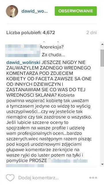 Woliński grozi, że zacznie szczerze oceniać internautki