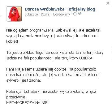 Znana fashionistka o programie Sablewskiej:Szkoda mi kobiet!