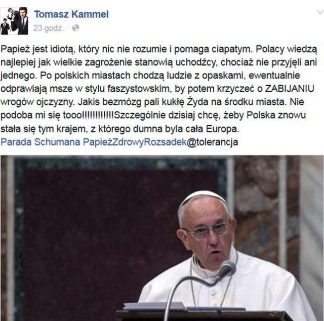Tomasz Kammel: Papież jest idiotą, który nic nie rozumie i pomaga ciapatym