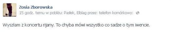 Zofia Zborowska o koncercie Rihanny: Gnój!