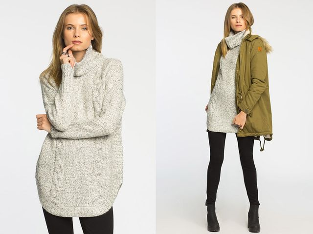 Dzianinowe sukienki i długie swetry na zimę