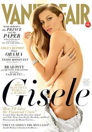 Półnaga Gisele Bundchen na okładce Vanity Fair (FOTO)
