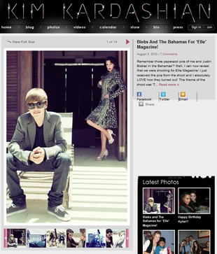 Kim Kardashian i Justin Bieber w sesji dla Elle (FOTO)